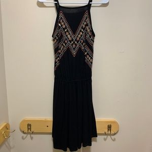 Forever 21 Mini Dress Size Small Black Embroidery